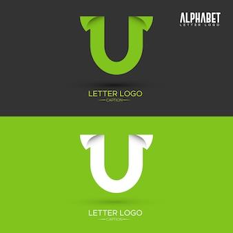 Logo della lettera u a forma di foglia verde a forma di origami