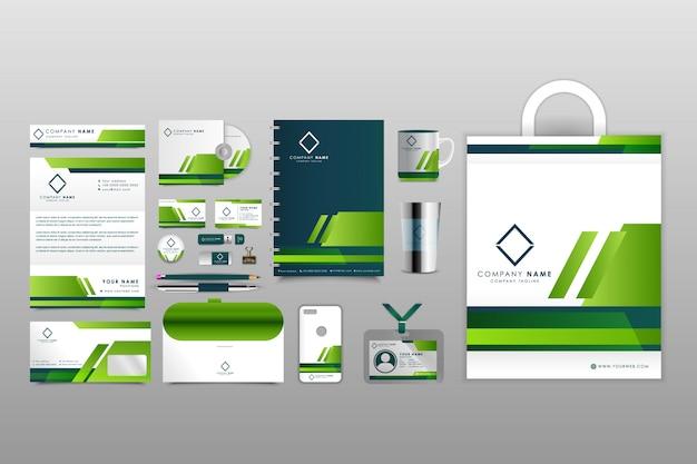 Modello di cartoleria ornamentale verde di affari