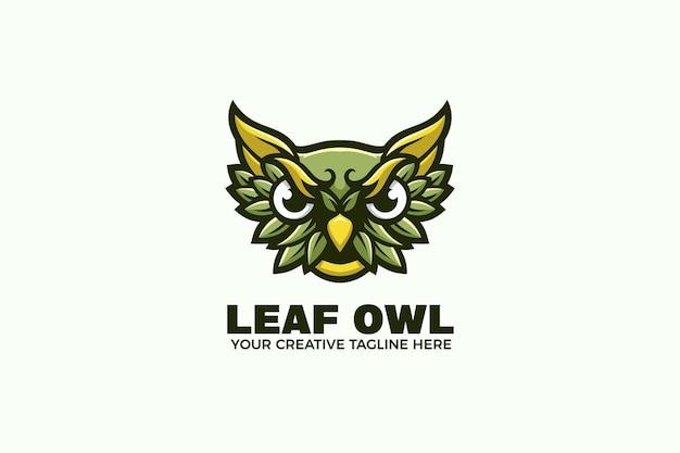 Modello logo mascotte cartone animato gufo verde