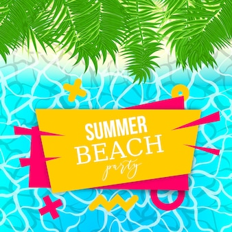 Manifesto verde delle vacanze estive della foglia di palma illustrazione del fondo di vettore delle onde della piscina dell'acqua di mare
