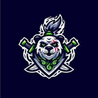 Logo esport panda verde