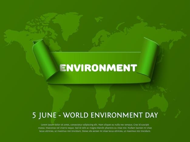 Banner di nastro arricciatura di carta verde con iscrizione ambiente per la giornata mondiale dell'ambiente eco design su sfondo verde scuro.