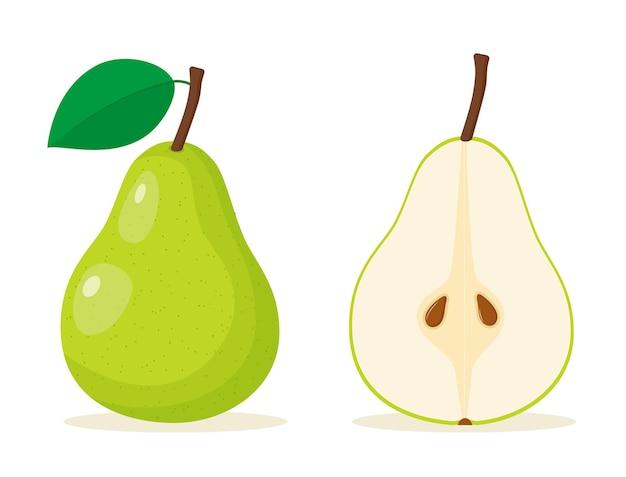 Icona di cibo pera verde.