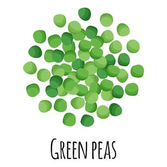 Piselli verdi per la progettazione, l'etichetta e l'imballaggio del mercato agricolo del modello. super alimento biologico con proteine energetiche naturali. illustrazione isolata del fumetto di vettore.