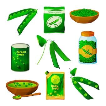 Sottaceti marinati vegetariani vegetali di piselli