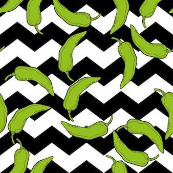 Peperone verde sul modello senza cuciture di vettore del fondo della geometria. verdura piccante del peperoncino rosso messicano trama di paprica calda.