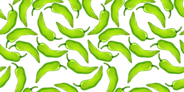 Modello senza cuciture di vettore di pepe verde. verdura piccante del peperoncino rosso messicano trama di paprica calda.