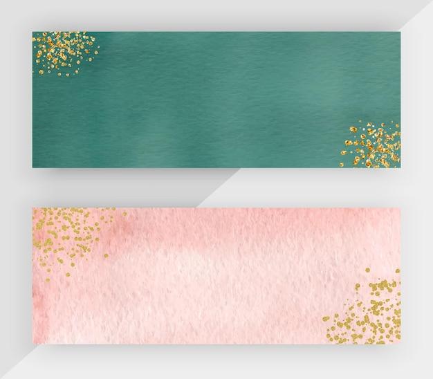 Acquerello verde e rosa con bandiere orizzontali di texture glitter oro