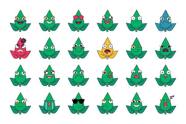 Set di icone di espressioni facciali di piante verdi. lascia emoticon con emozioni positive e negative