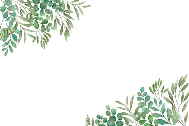Piante verdi e foglie copiano lo spazio