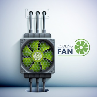 Dispositivo di raffreddamento del computer in plastica verde con griglia e fili, illustrazione in stile realistico