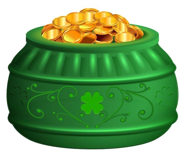 Pentola verde di monete d'oro. saint patricks day tesoro simbolo fortuna trifoglio. illustrazione vettoriale isolato su bianco