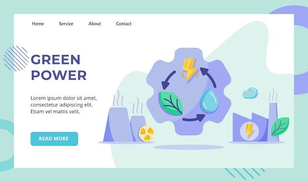 Energia verde riciclare foglia goccia acqua fulmini sulla campagna della centrale nucleare dell'ingranaggio per la pagina di destinazione della home page del sito web