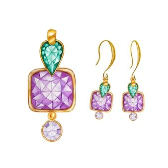 Perle di gemme quadrate in cristallo verde e viola con elemento in oro