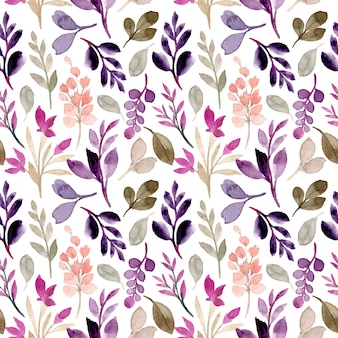 Modello senza cuciture verde foglie viola con acquerello