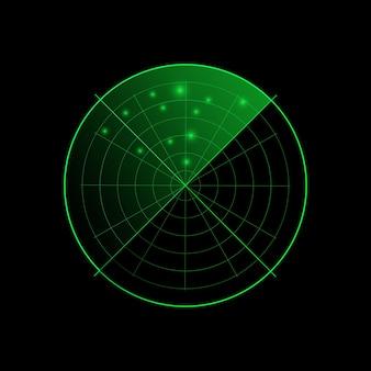 Radar verde isolato su sfondo scuro. sistema di ricerca militare. display radar hud. .