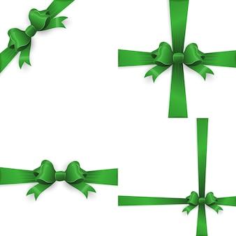 Fiocco regalo verde realistico doppio.