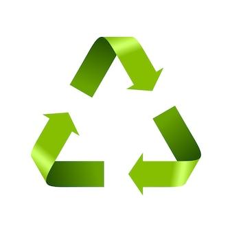 Segno di logo di riciclo verde isolato su bianco. modello di disegno vettoriale