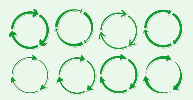 Set di adesivi icona rotonda di riciclaggio verde, simbolo piatto ruota rotazione eco freccia utilizzando risorse riciclate