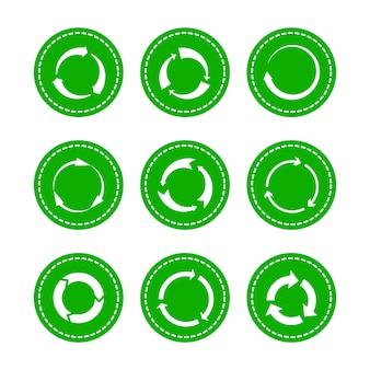 Frecce rotonde di riciclaggio verdi