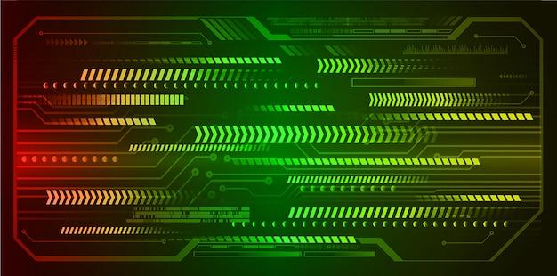 Freccia rossa verde cyber circuito tecnologia futuro sfondo