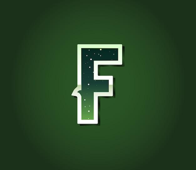 Carattere di fantascienza retrò verde con stelle all'interno delle lettere. alfabeto