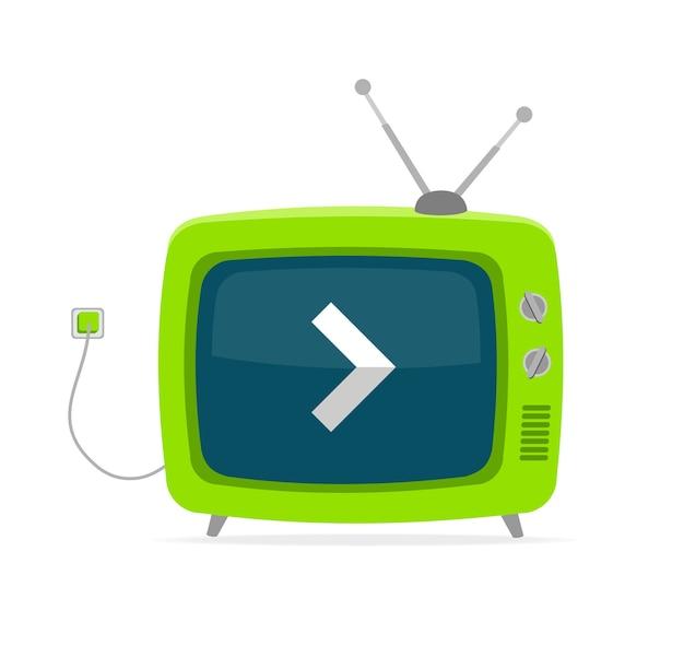 Tv retrò verde con freccia, filo e piccola antenna isolata su sfondo bianco.