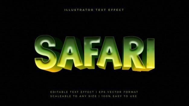 Effetto carattere stile testo giungla safari verde