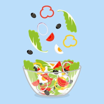 Insalata verde di verdure fresche in un'insalatiera trasparente