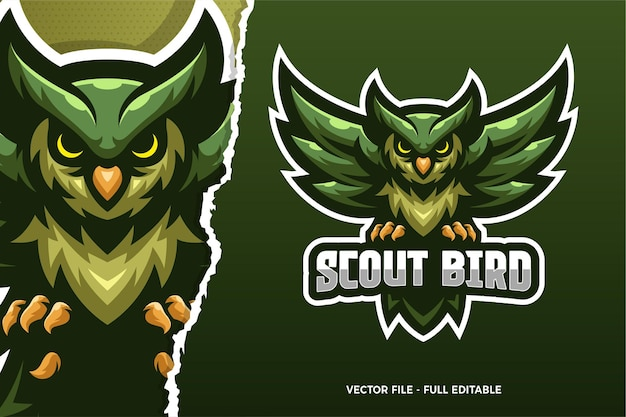 Green scout bird e-sport game logo modello