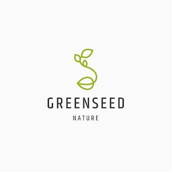 Illustrazione piana di vettore del modello di progettazione dell'icona di logo della natura del seme verde