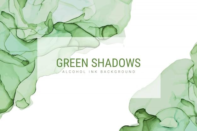 Tonalità verdi inchiostro sfondo, inchiostro bagnato, disegnato a mano