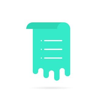 Foglio verde con elenco promemoria. concetto di flusso di lavoro, voto, interfaccia utente della posta, menu arrotolato, modello di documento, avviso, pianificazione, post. stile piatto tendenza logo moderno design grafico illustrazione vettoriale su sfondo bianco