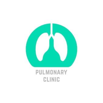 Logo della clinica polmonare semplice verde. concetto di aiuto, bronchi, trachea, torace, ricerca, respiro, interno. isolato su sfondo bianco. stile piatto tendenza moderna polmoni logo design illustrazione vettoriale