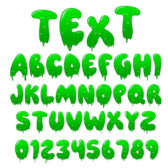 Carattere verde melma. alfabeto con gocce di flusso e goo splash.