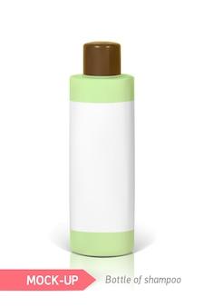 Piccola bottiglia verde di shampoo con etichetta