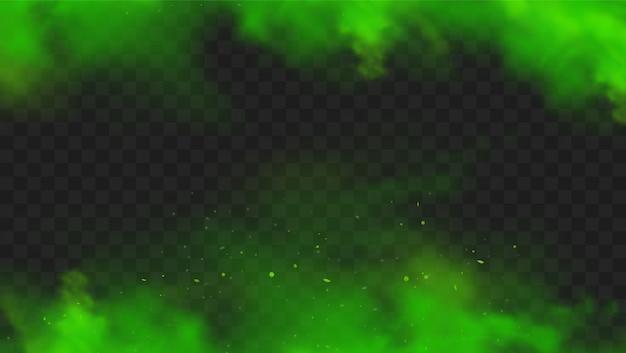 Fumo verde isolato. cattivo odore verde realistico, nuvola di nebbia magica, gas tossico chimico, onde di vapore.