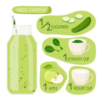 Ricetta frullato verde bottiglia frullato di vetro con ingredienti cibo e bevande isolati su bianco