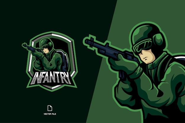 Logo esport della mascotte del soldato verde per l'illustrazione della squadra di gioco
