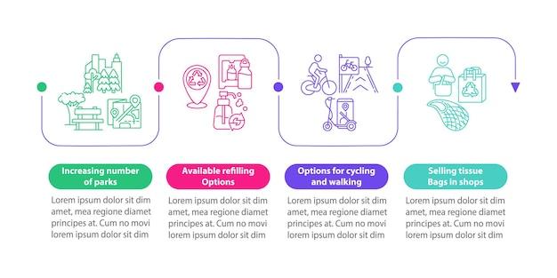 Modello di infografica di vettore di soluzioni verdi. elementi di design del contorno di presentazione in bicicletta ea piedi. visualizzazione dei dati con 4 passaggi. grafico delle informazioni sulla sequenza temporale del processo. layout del flusso di lavoro con icone di linea
