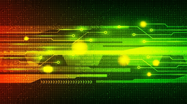Indicatore luminoso di velocità verde sul circuito microchip technology background, hi-tech digital e internet