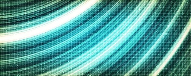 Tecnologia green speed waving su sfondo futuro, design digitale e concetto di connessione