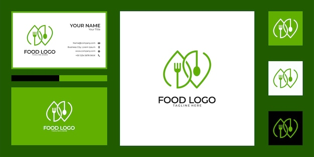 Cucchiaio e forchetta verde logo design e biglietto da visita. buon uso per il logo del ristorante di cibo