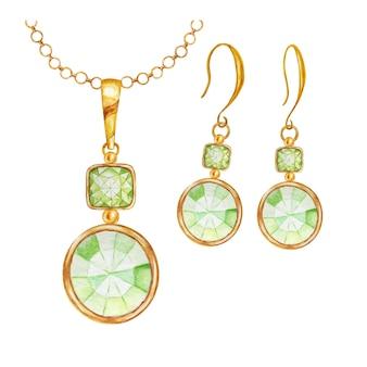Perle di pietre preziose di cristallo quadrate e rotonde verdi con illustrazione di elementi in oro