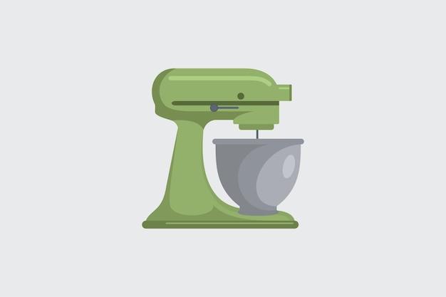 Robot da cucina verde con ciotola in metallo isolata. icona di vettore dell'illustrazione di stile piano.