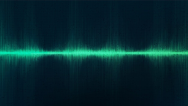 Green studio digital sound wave background