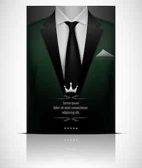 Abito verde e smoking con cravatta nera