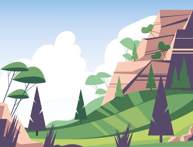 Natura verde estiva con pino e illustrazione di montagna