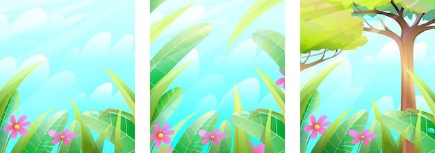 Collezione di fiabe di sfondo verde estivo o primaverile della natura cornice estiva del paesaggio della giungla