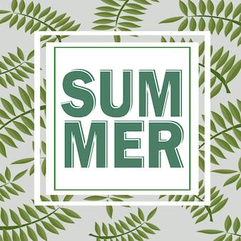 Sfondo tropicale estivo verde con foglie e piante di palma esotiche. fondo floreale di vettore.